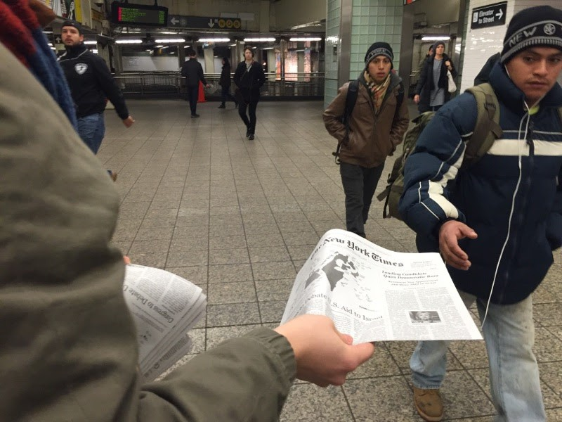 Yesterday, 10,000 copies of a bogus New York Times were handed out across the city.