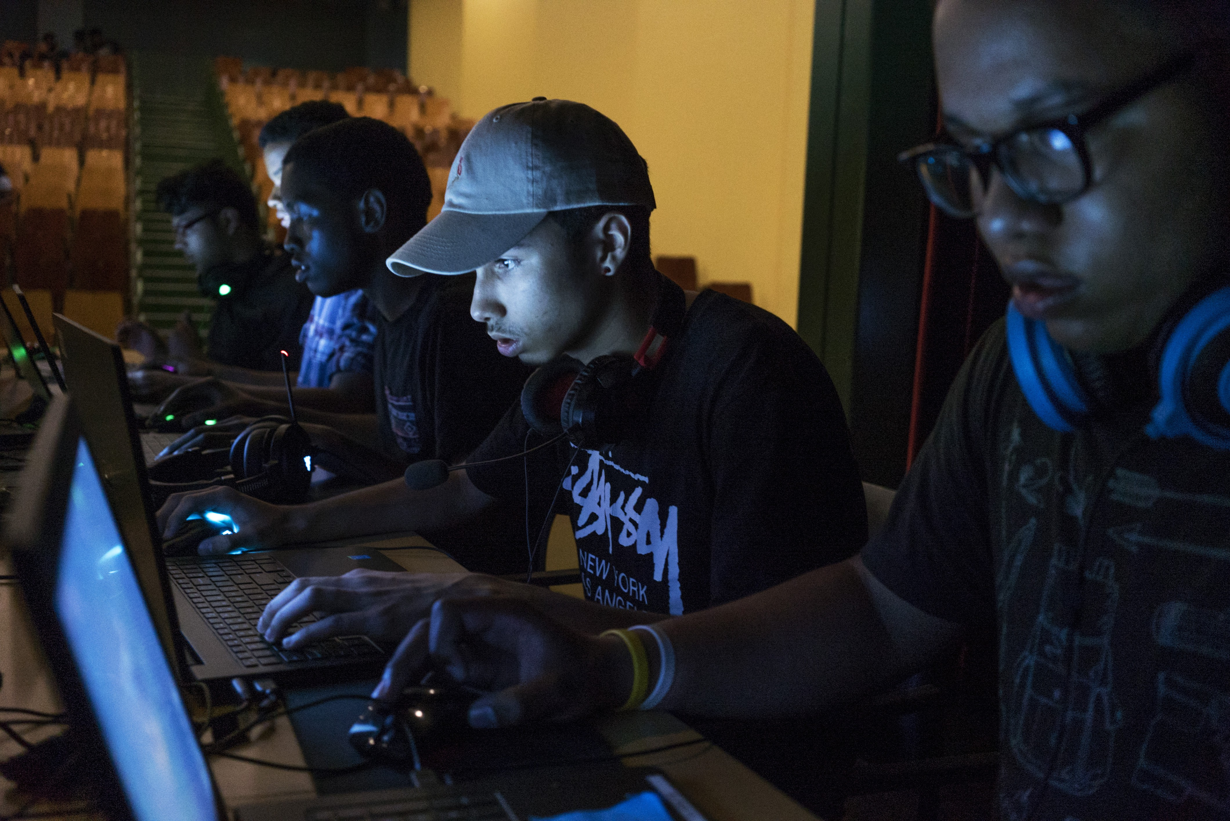 "Members of the Academy for Young Writer's High School ""e-sports"" team concentrate on their screens during a competitive game of League of Legends, held on June 11 at Spring Creek Educational Campus in East New York, Brooklyn. From left: Mohammed Islam, Christian Colzier, Keron Antoine, Jon Fondeur, and Andrew Hernandez. Check out more photos here."