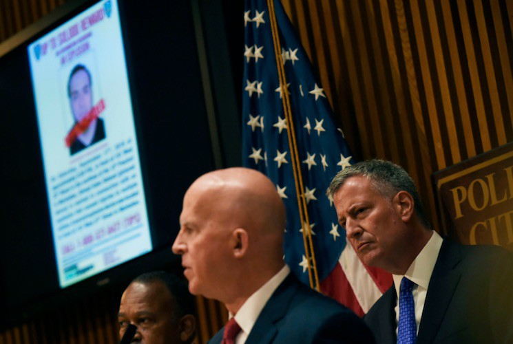 NYPD Commissioner James O'Neill and Mayor Bill de Blasio at the press conference