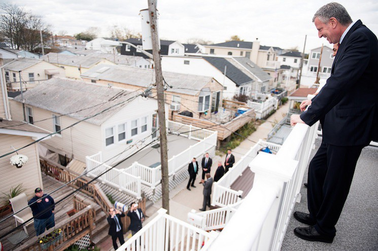 Mayor Bill de Blasio and HUD Secretary Julian Castro tour a home rebuilt by NYC Build It Back in Breezy Point, New York Tuesday October 27, 2015.