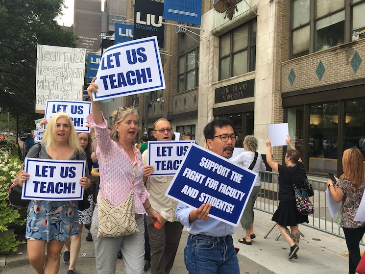 Faculty protest outside LIU's Brooklyn campus last week.