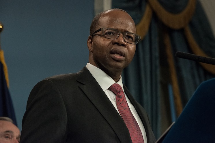 Ken Thompson speaking at City Hall in January of 2016.