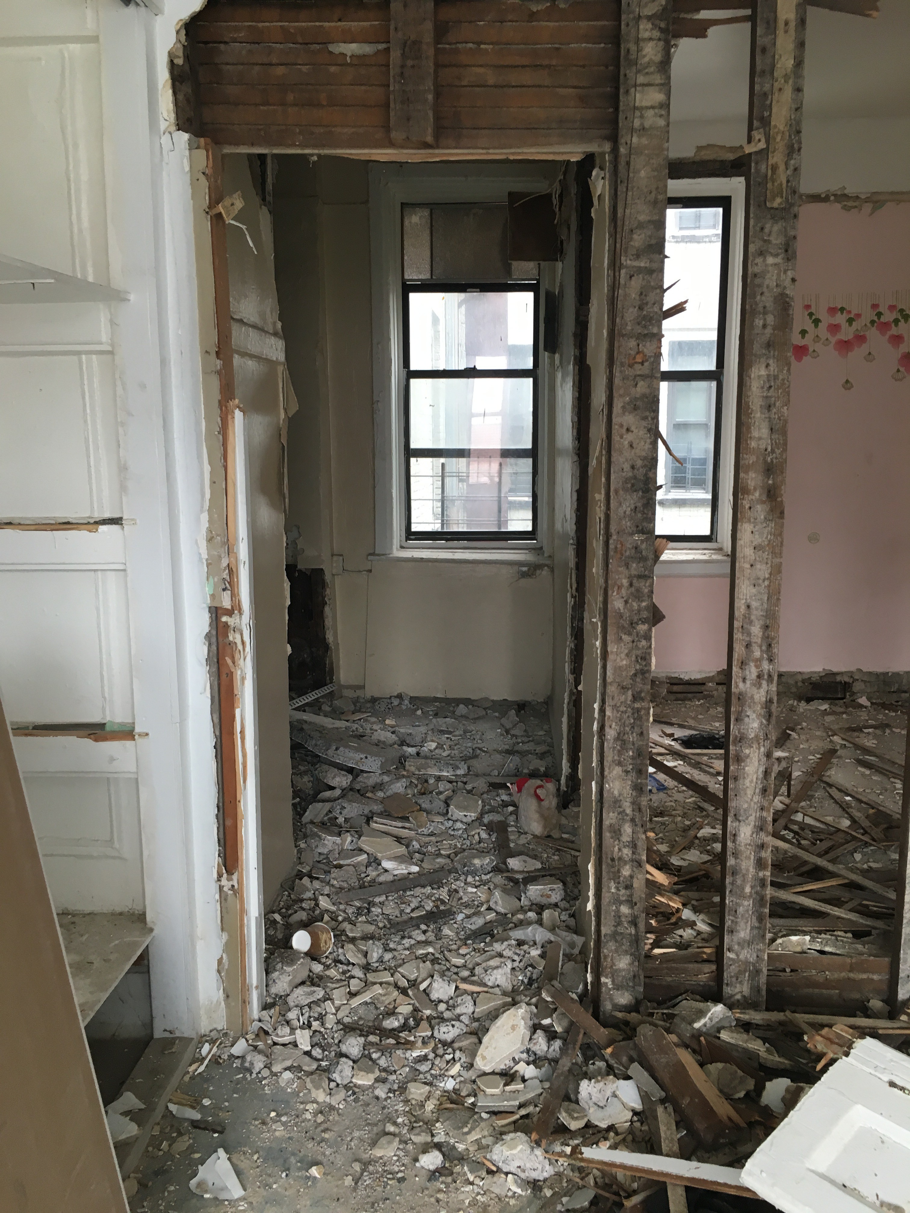 Clara Wainwright, 70, is forced to walk through a vacant apartment filled with rubble, one floor below hers, to use the bathroom after her landlord locked her out of her own, which had leaks that went unaddressed. Her building, 919 Prospect Avenue, is the worst in the Bronx and is owned by Seth Miller.