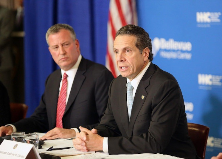 Governor Cuomo and Mayor de Blasio at an Ebola-related press conference in October of 2014.