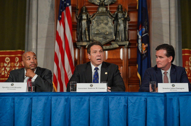The three men who can ensure New York passes universal healthcare: Assembly Majority Leader Carl Heastie, Governor Andrew Cuomo, and Senate Majority Leader John Flanagan.