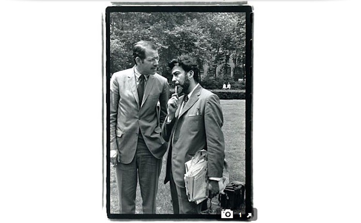 June 1969: Hentoff in Bryant Park with Tom Morgan, who would later become editor of the Voice