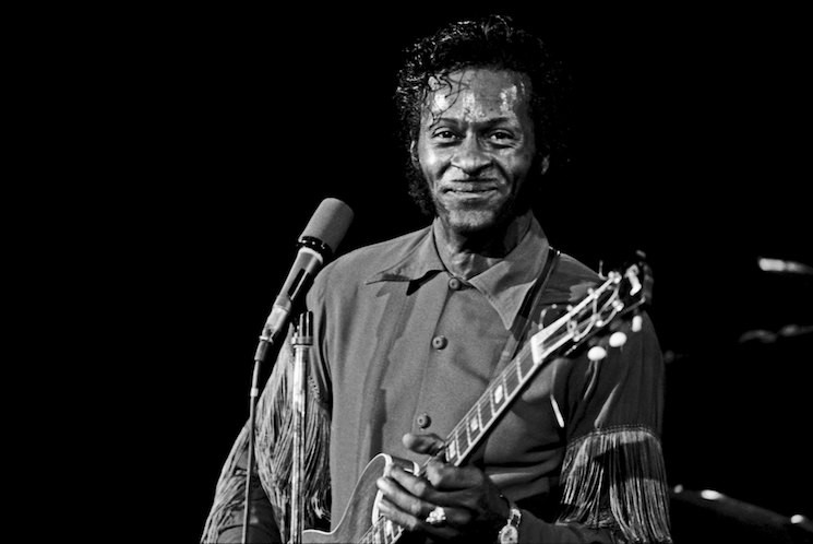Chuck Berry performs in November, 1972 at Hofstra University in New York City.