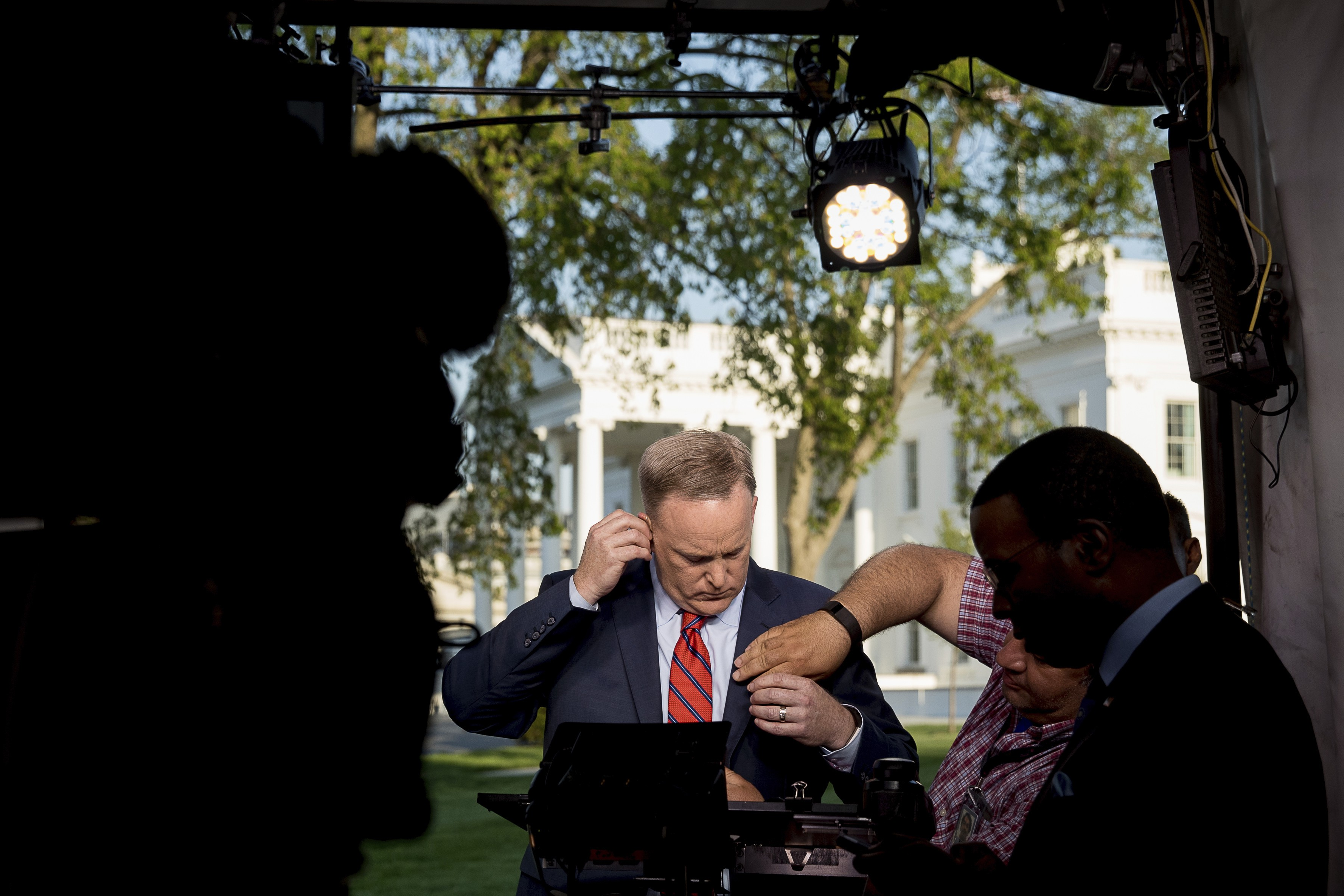White House press secretary Sean Spicer preparing to go on cable news
