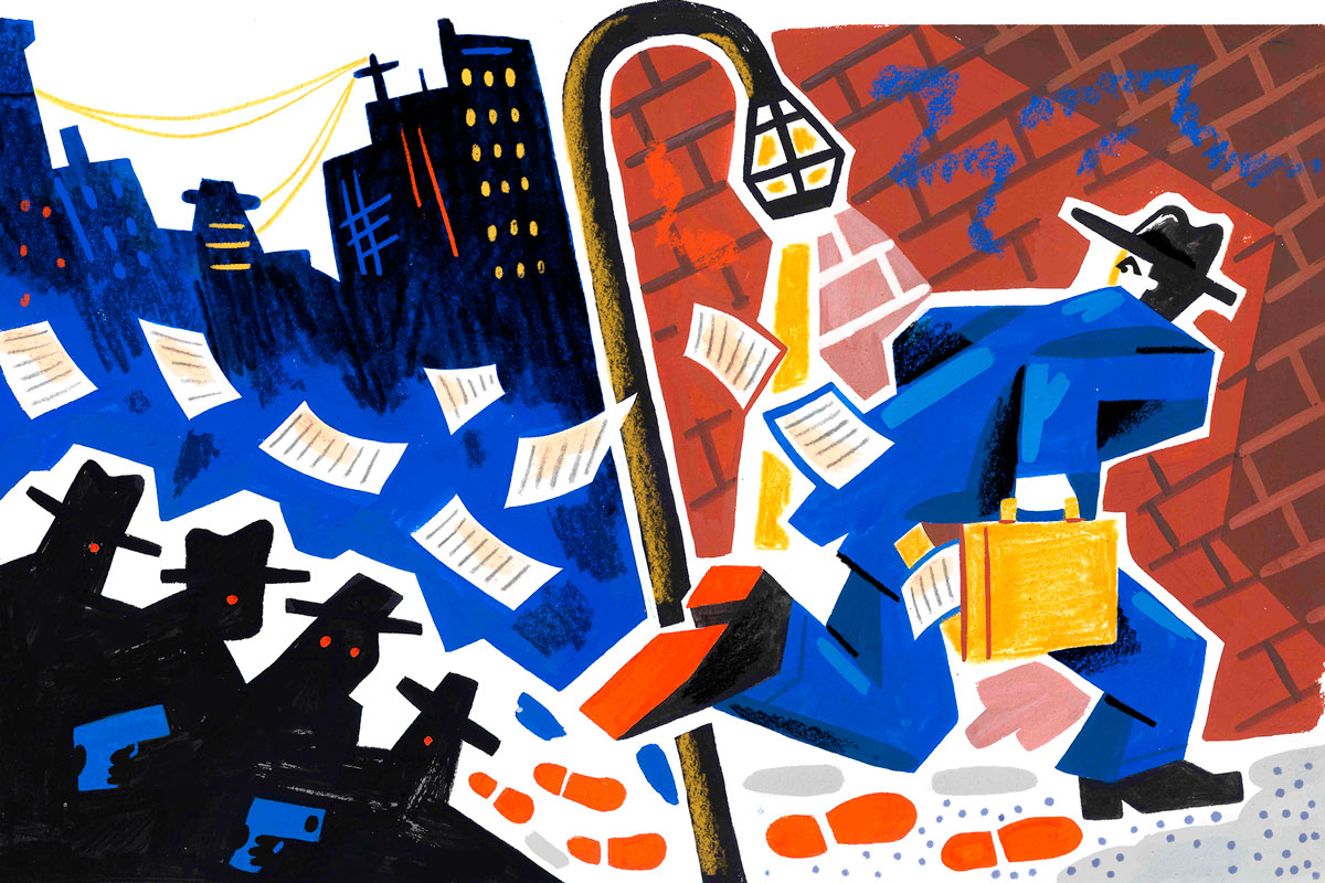 Colorful illustration of a detective by Tim Liedtke