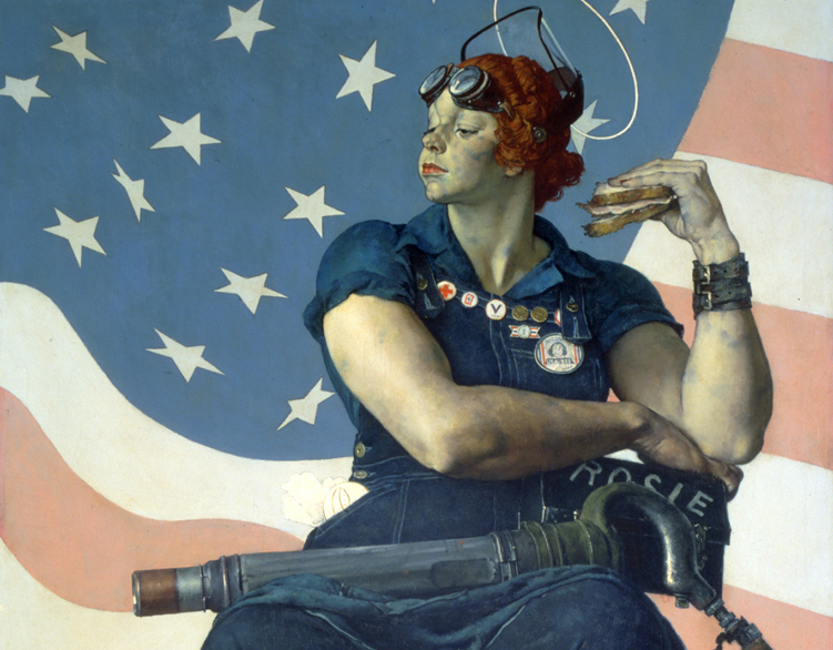 """Rosie the Riveter"" (1943). Cover illustration for The Saturday Evening Post, May 29, 1943."