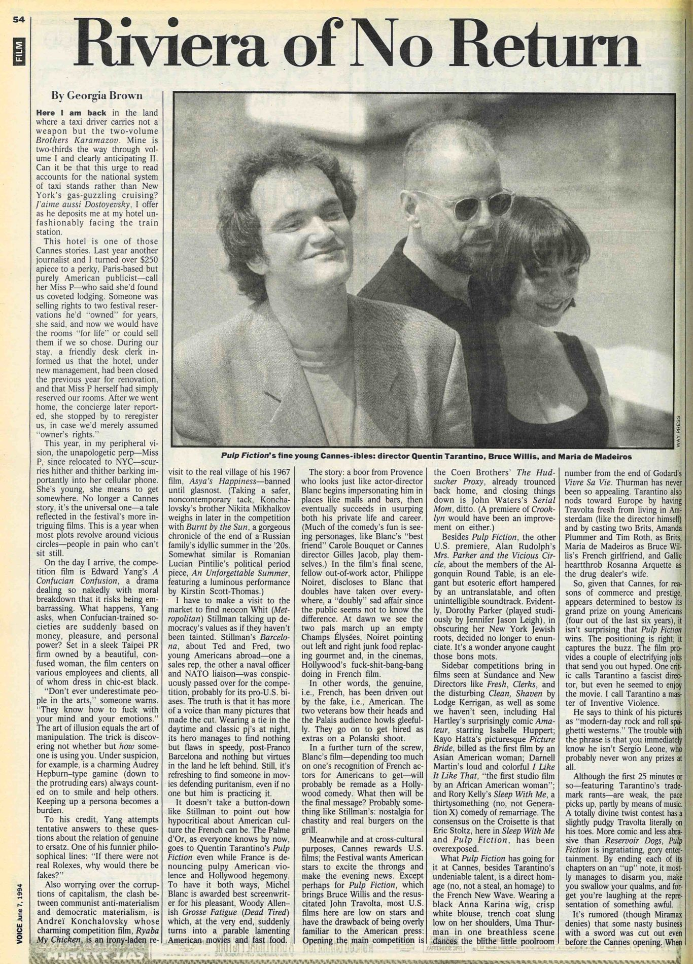Cannes Diary, 1994: Riviera of No Return