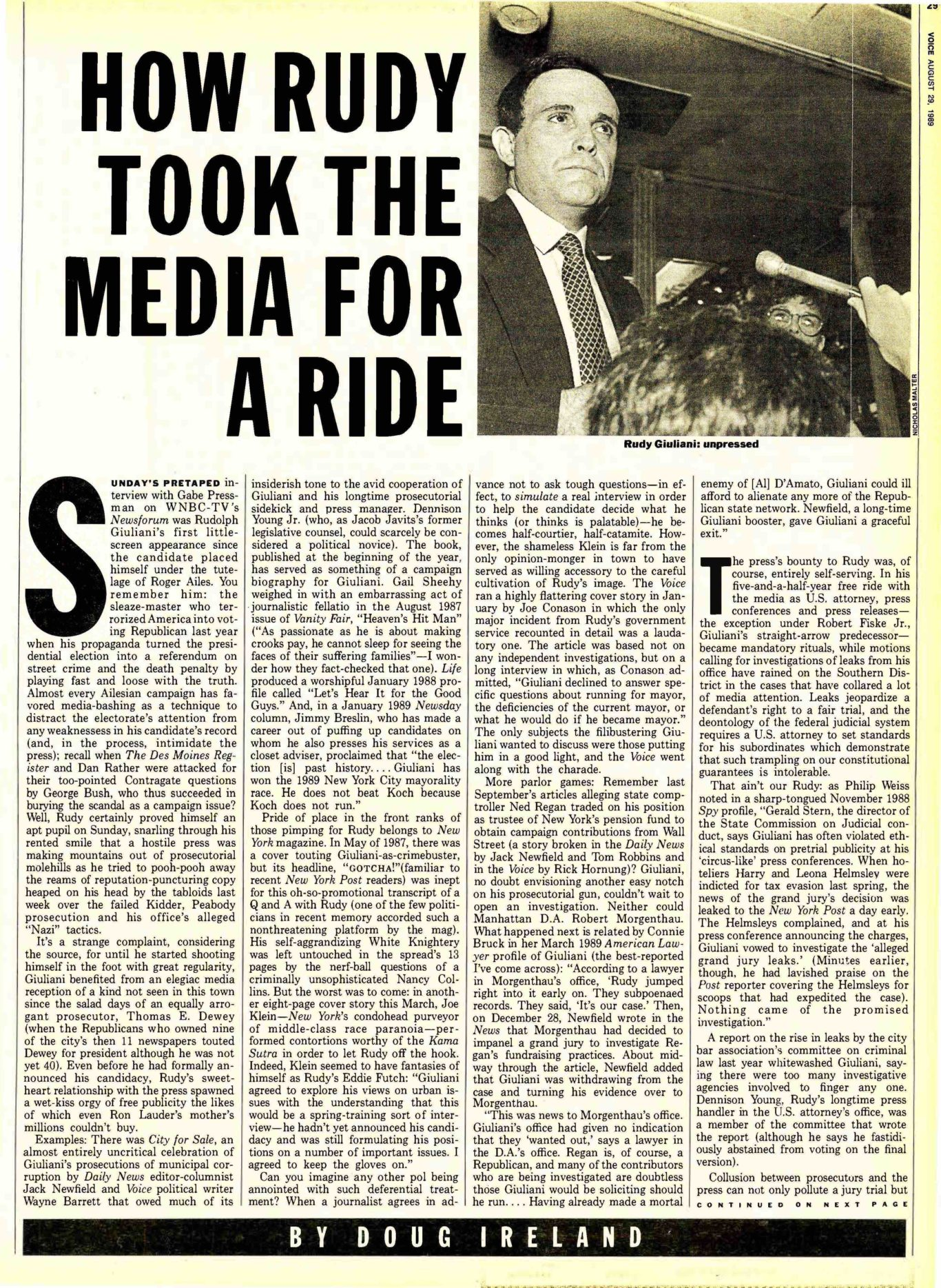 How Rudy Giuliani Took The Media For A Ride The Village Voice
