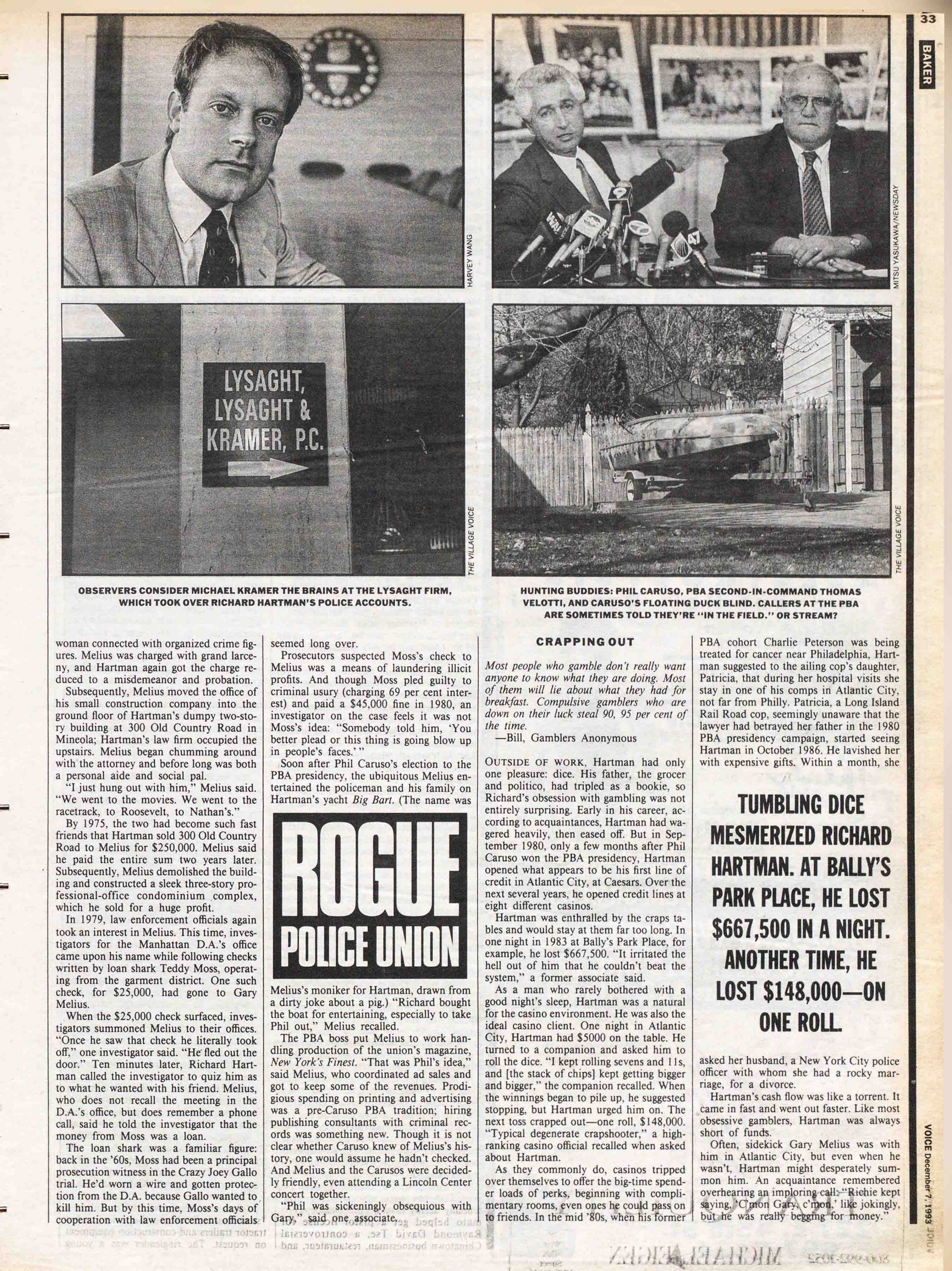 1993 Village Voice article by Russ Baker about corruption in the NYPD's Patrolman's Benevolent Association