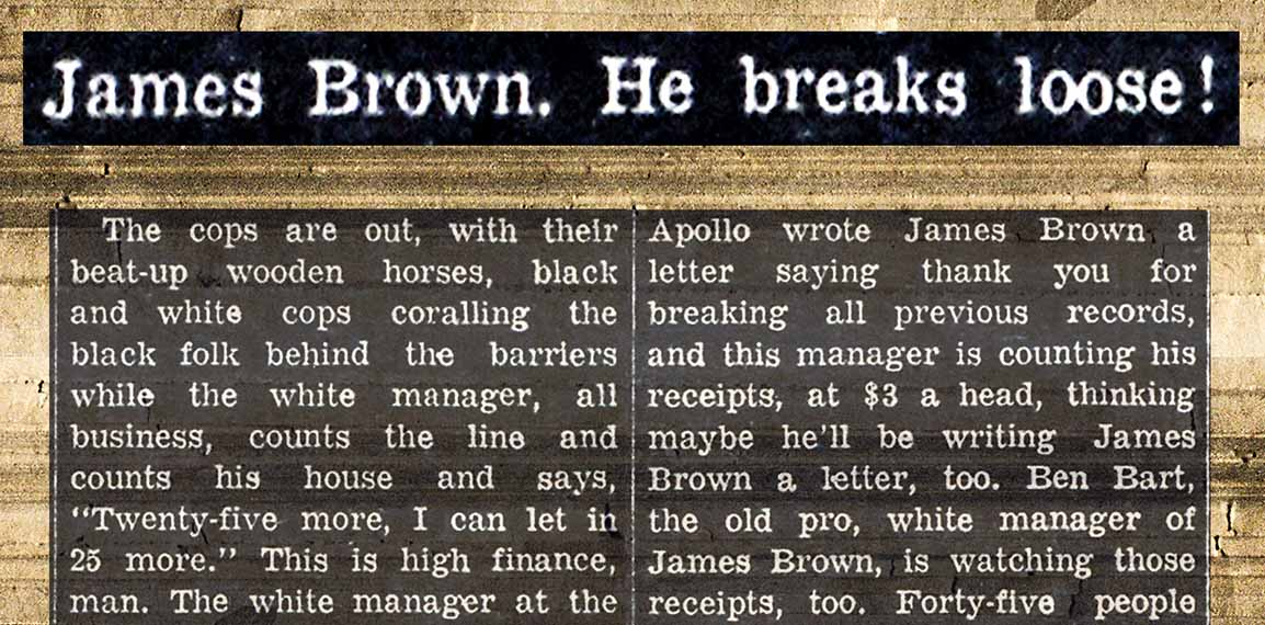 1965 Village Voice issue article by Susan Brownmiller about James Brown performing in Bed-Stuy, Brooklyn