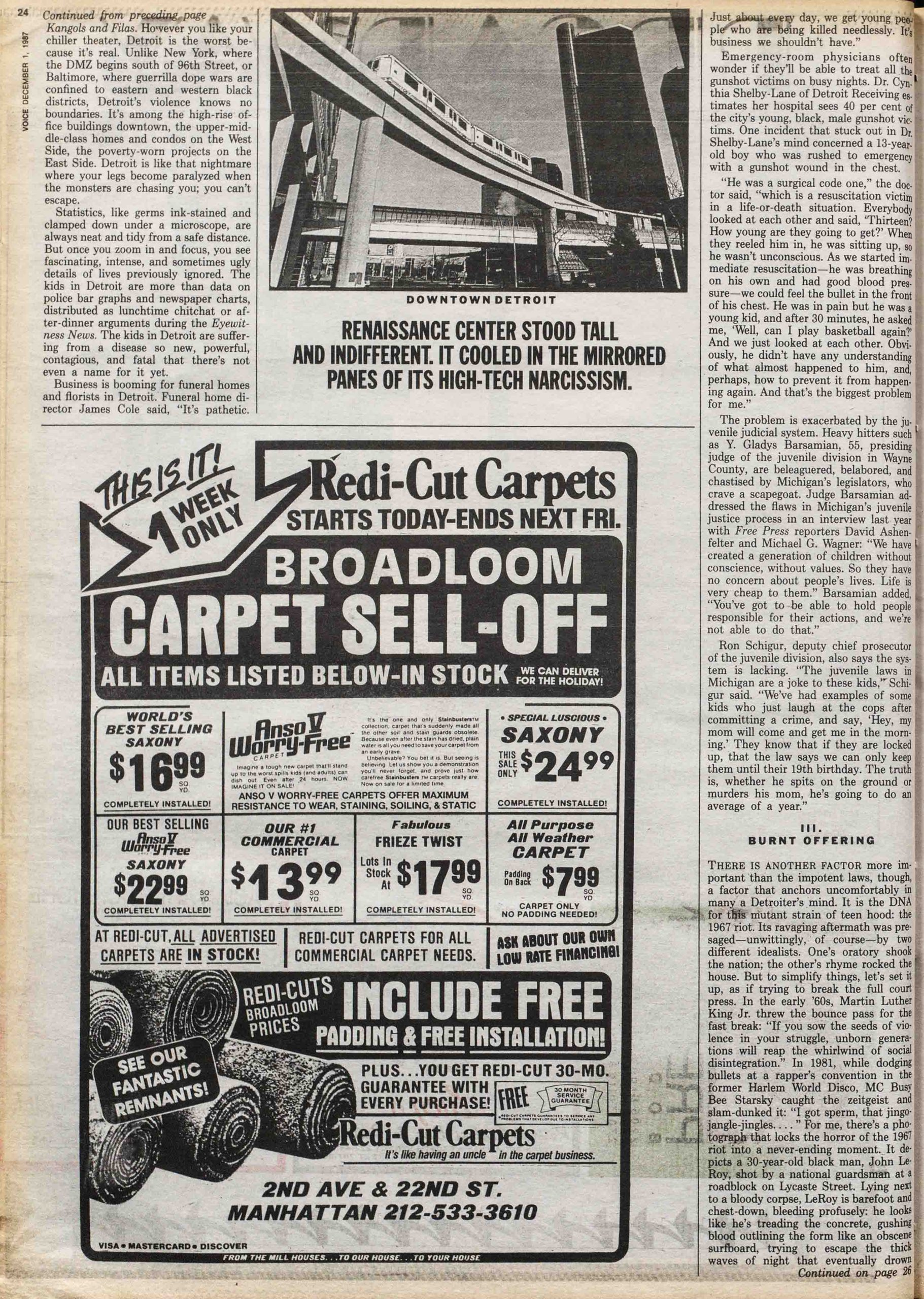 1987 Village Voice article by Barry Michael Cooper about gun violence in Detroit