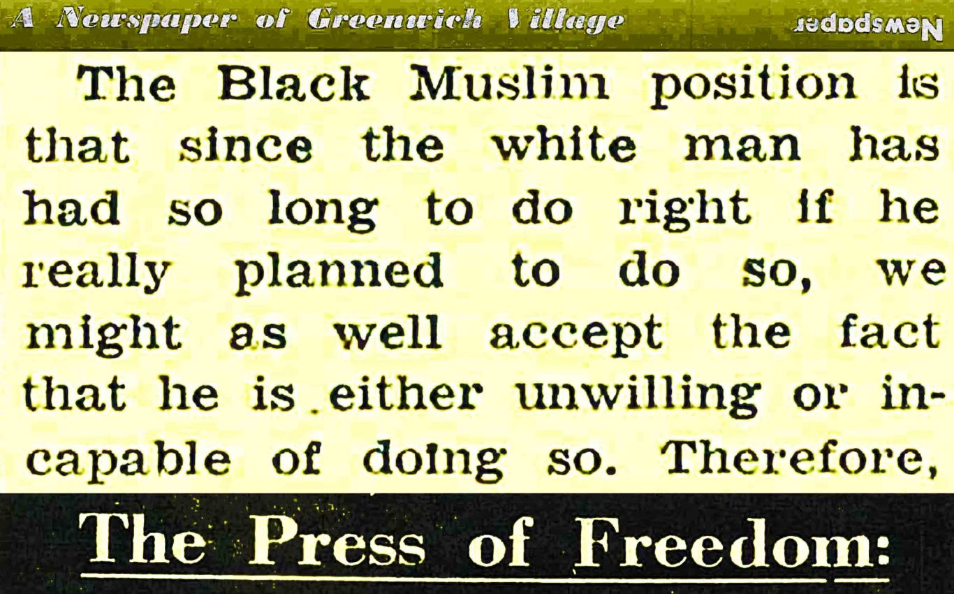 1962 Village voice article about Black Muslims and Integrationists