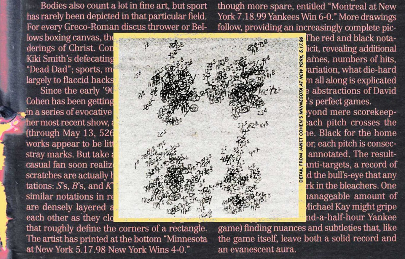 2000 Village Voice article by R.C. Baker about Janet Cohen's conceptual drawings about David Cone and David Wells perfect games for the Yankees