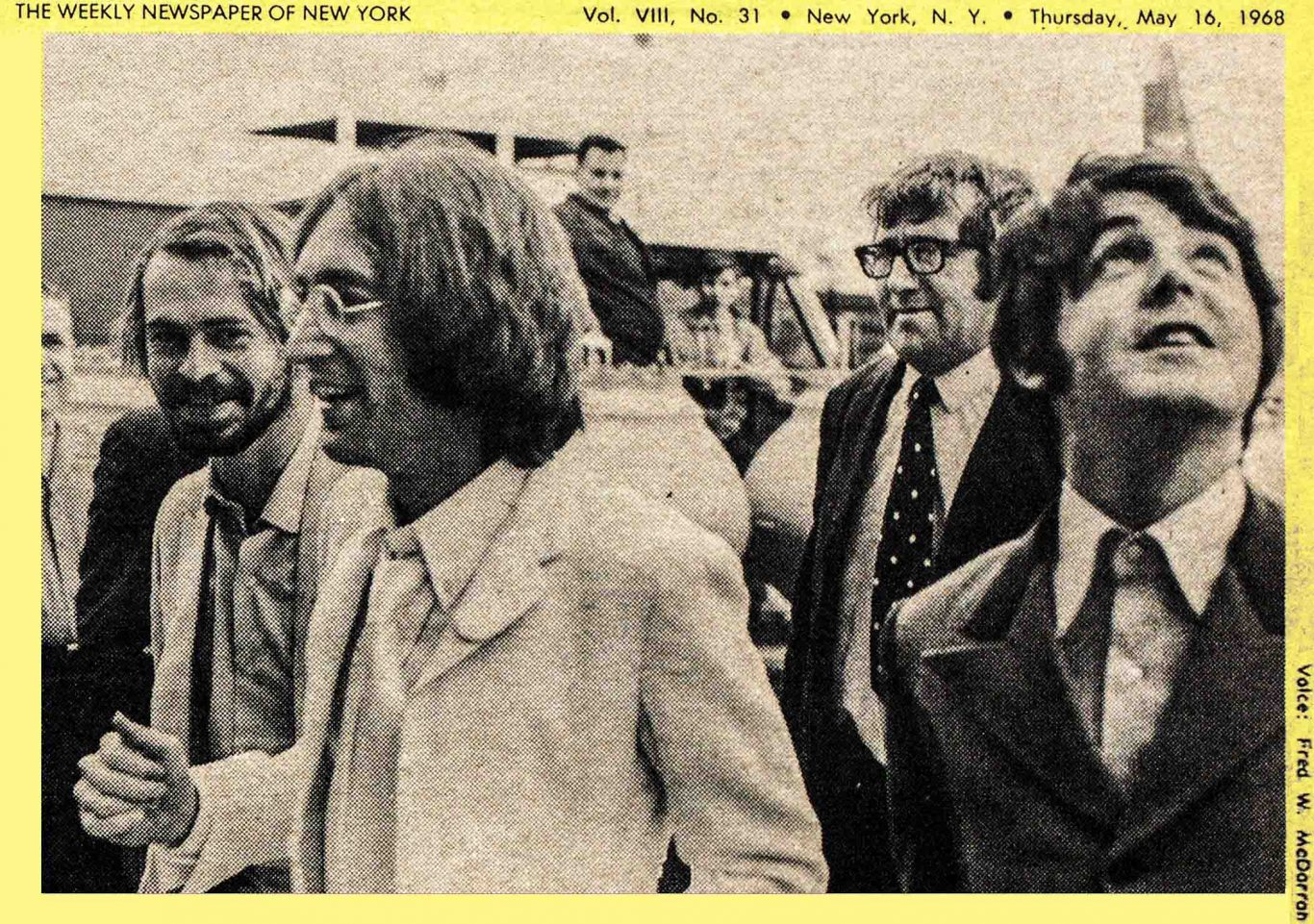 1968 Village Voice article by Howard Smith about John Lennon and Paul McCarney in New York City